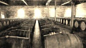 Foto envelhecida de tambores de vinho do vintage nas fileiras Imagens de Stock Royalty Free
