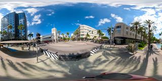 Foto esférica de Miami Florida Lincoln Road 360 equirectangular Imagens de Stock