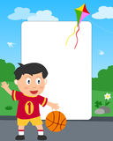 foto för basketpojkeram royaltyfri illustrationer