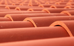 Foto för closeup för tak för röd tegelplatta Arkivbild
