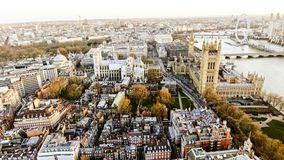 Foto för flyg- sikt av den Big Ben aka staden av Westminster i London Royaltyfri Fotografi