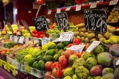 Foto för materiel för marknad för fruktgrönsak Arkivfoton