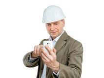 Foto för telefon för konstruktionsarbetsledaredanande Fotografering för Bildbyråer
