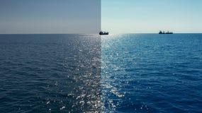 Foto före och efter den redigerande processen för bild Havsskepp royaltyfria bilder