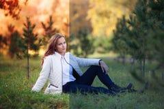 Foto före och efter den redigerande processen för bild 15 woman young Arkivfoto