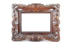 Foto-frame de madeira no branco Imagens de Stock Royalty Free