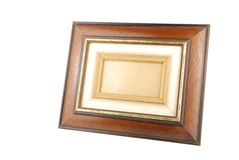 Foto-frame de madeira no branco Fotos de Stock