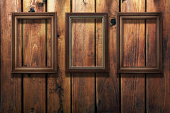 Foto-frames do vintage no fundo de madeira Fotografia de Stock