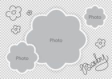 Foto gestaltet Blumenschablone für süßes Baby vektor abbildung