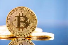 Foto goldenes Bitcoins Stockfotos