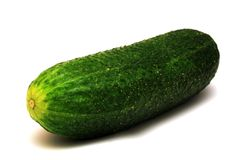 Foto of green cucumber on white background Stock Photo