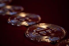 Foto guld- Bitcoins på röd bakgrund handelbegrepp av crypto valuta Royaltyfri Bild