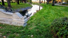 Foto hermosa del pequeño río tranquilo y puente de piedra en parque del aututmn imagen de archivo libre de regalías