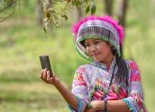 Foto hermosa del selfie de la mujer joven Imagen de archivo