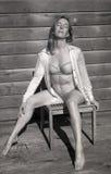 Foto infravermelha da mulher envelhecida meio no sutiã e na cuecas Fotos de Stock Royalty Free