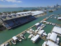 Foto internazionale dell'antenna di manifestazione della barca di Miami fotografia stock libera da diritti