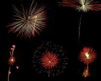 Foto-inzameling van vijf vuurwerk stock afbeeldingen