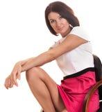 Junge Dame lokalisiert auf weißem Hintergrund Stockfoto
