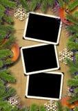 Foto-kader retro op een achtergrond van Kerstmis. Royalty-vrije Stock Foto