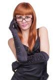 Foto la bella ragazza nel vestito nero Immagine Stock