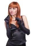 Foto la bella ragazza nel vestito nero Immagini Stock Libere da Diritti
