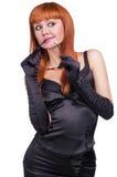 Foto la bella ragazza nel vestito nero Fotografia Stock Libera da Diritti