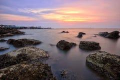 Foto longa da exposição da praia Foto de Stock