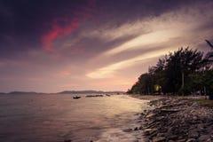 Foto longa da exposição de uma parte da praia de Pala Fotos de Stock Royalty Free