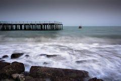 Foto longa da exposição de uma parte da praia de Pala Imagem de Stock Royalty Free