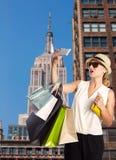 Foto loura do selfie da menina do turista em New York Fotografia de Stock