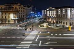 Foto lunga di esposizione della via centrale della città di Bergamo, Italia Immagini Stock Libere da Diritti