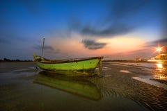 Foto lunga di esposizione di una parte della spiaggia di Pala Fotografie Stock Libere da Diritti