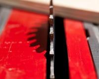 Foto macra de la lámina de sierra circular Imágenes de archivo libres de regalías