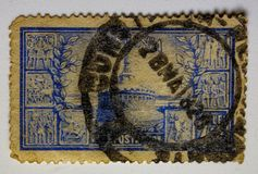 VINTAGE STAMP, ROMANIA 1820. FINE GRAFICS. Foto in the macro for perfect viewing of fine detail Royalty Free Stock Images