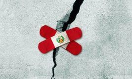 A foto manipulou a ideia de reconstruir o Peru após o terremoto ilustração do vetor