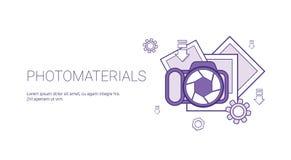Foto-Material-Medien-Daten-Konzept-Schablonen-Netz-Fahne mit Kopien-Raum lizenzfreie abbildung