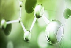 Foto medica astratta del fondo della luce verde della molecola Immagine Stock
