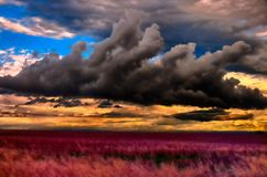 Foto meteorologica - cumulo sopra il campo di agricoltura Fotografia Stock Libera da Diritti