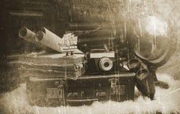 Foto mit gealterten Effekt Weinlese-Reisendeinzelteilen Lizenzfreie Stockbilder