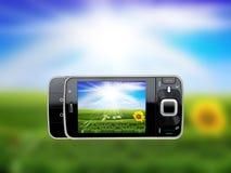 Foto mit mobilem Handy nehmend - verschönern Sie O landschaftlich vektor abbildung