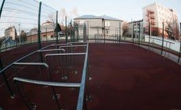 Foto moderna do campo de jogos da escola tomada no fisheye Imagem de Stock Royalty Free