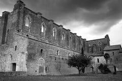 Foto monocromática de la iglesia de San Galgano Imagen de archivo libre de regalías