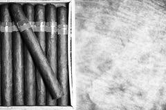Foto monocromatica di grande scatola di legno del cubano fatto a mano dei sigari fotografia stock