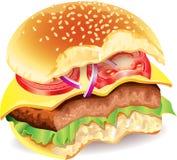Foto mordida do Hamburger realística  ilustração do vetor