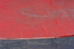 Foto natuurlijke houten die textuur in rood wordt geschilderd en blauw stock foto