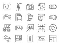 Foto- och kameralinje symbolsuppsättning Inklusive symboler som bild, bild, galleri, album, polaroiden och mer royaltyfri illustrationer