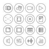 Foto- och videosymboler av tunna linjer, vektorillustration stock illustrationer