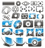 Foto- och videosymboler, symboler, logoer och teckensamling l royaltyfri illustrationer
