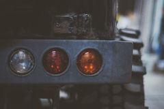 Foto orizzontale della luce della coda dell'automobile 4x4 Fotografia Stock