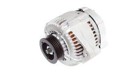 Foto på sammansättningen av de tre delarna för motorn Generator, betingande kompressor för luft och startknappen på en grå färg t fotografering för bildbyråer